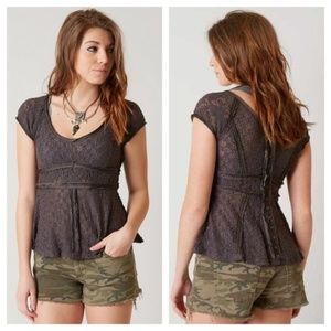 Free People Besties tee Lace button back charcoal